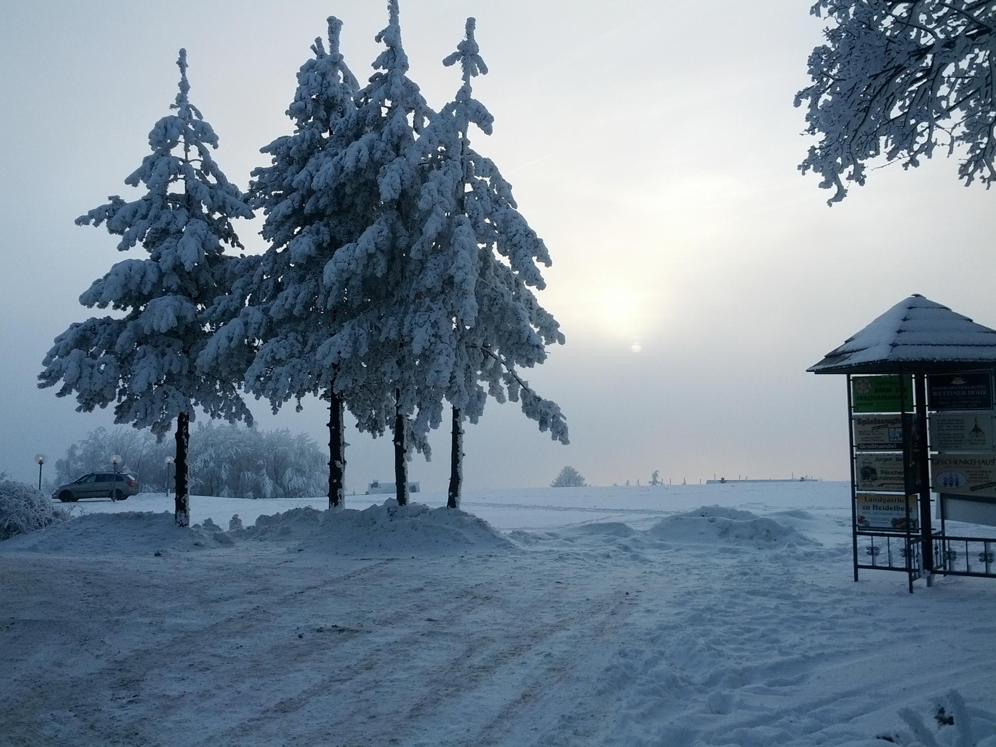 Schnee. Viel Schnee. Und wie so oft verkriecht sich die Sonne.