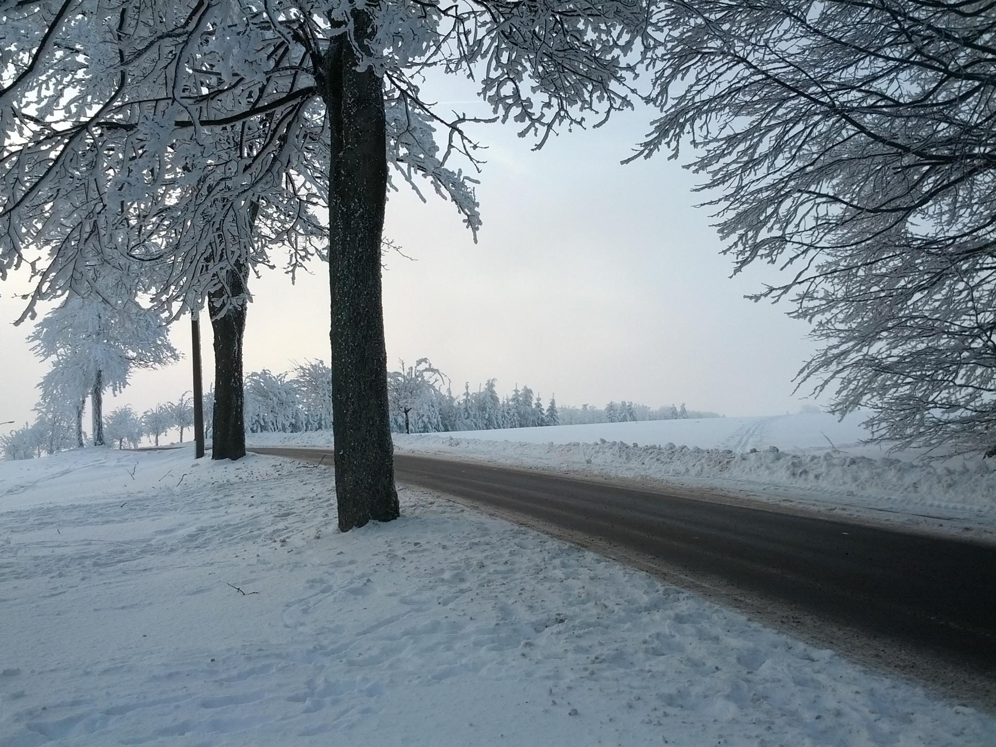 Wintereinbruch. Blick nach Seiffen vom Berghof.